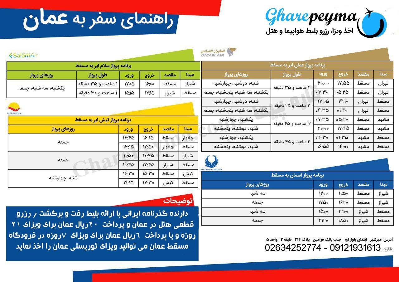 برنامه پروازهای عمان