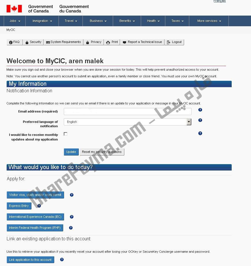 آموزش نحوه ساخت اکانت Mycic برای ویزای آنلاین کانادا