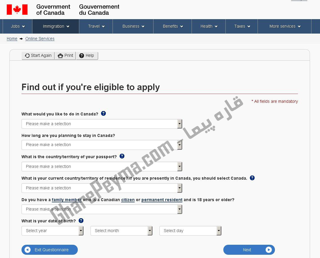 آموزش نحوه درخواست ویزا بازدیدکننده VisitorVisa کانادا در سایت CIC