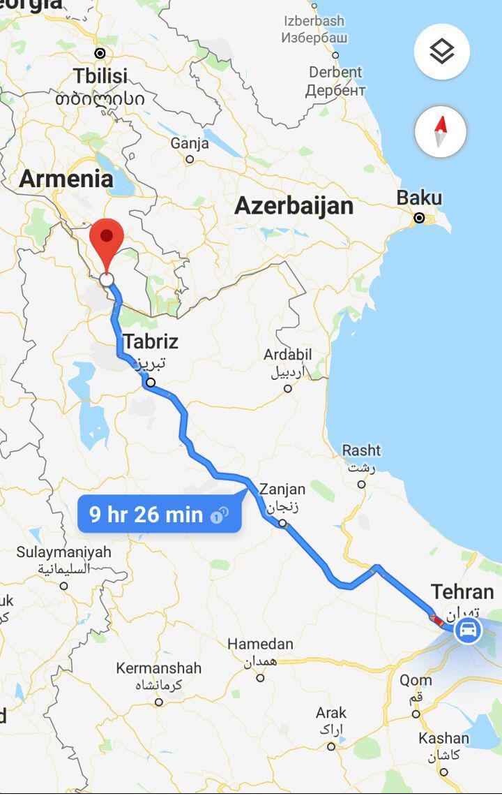 مسافت زمینی از تهران به نخجوان و مدت زمان سفر زمینی از تهران به نخجوان آذربایجان و مسیر حرکت اتوبوس از تهران به نخجوان :