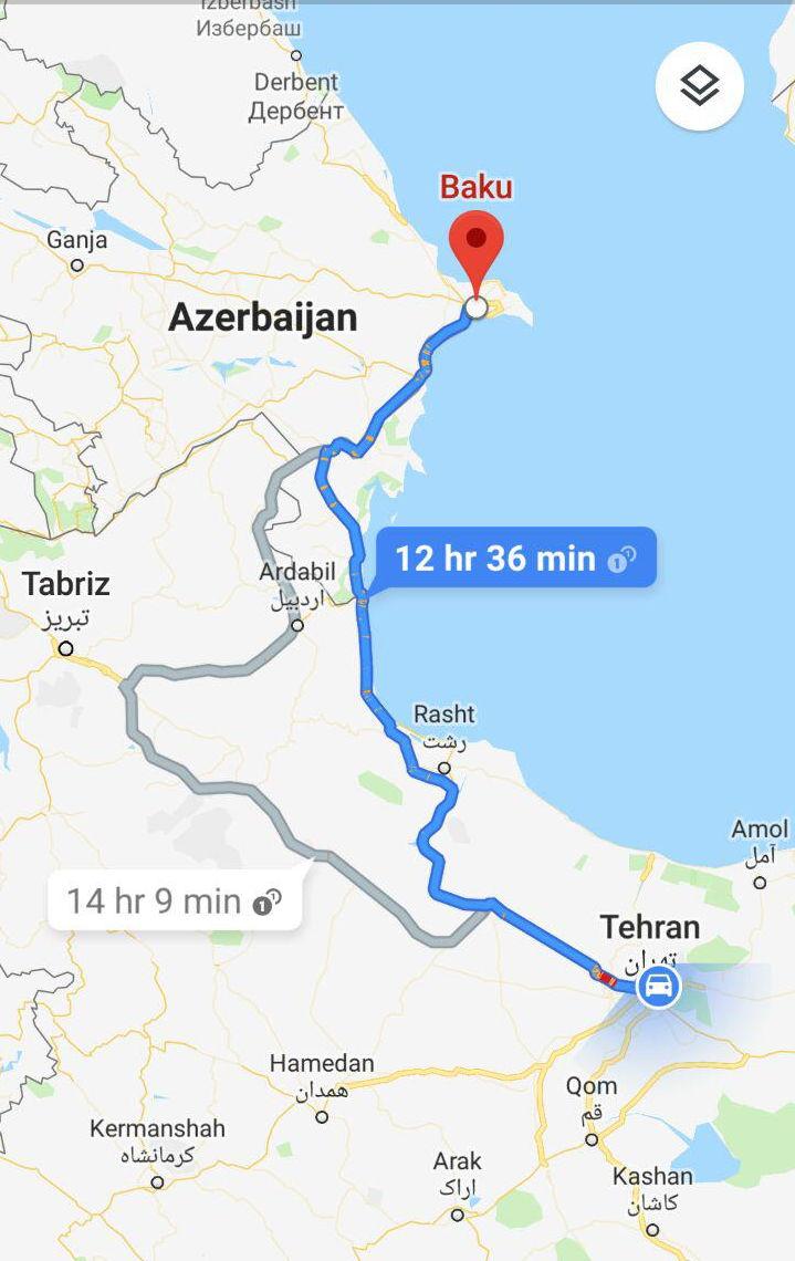 مسافت و مدت زمان سفر زمینی از تهران به باکو آذربایجان و مسیر حرکت اتوبوس از تهران به باکو