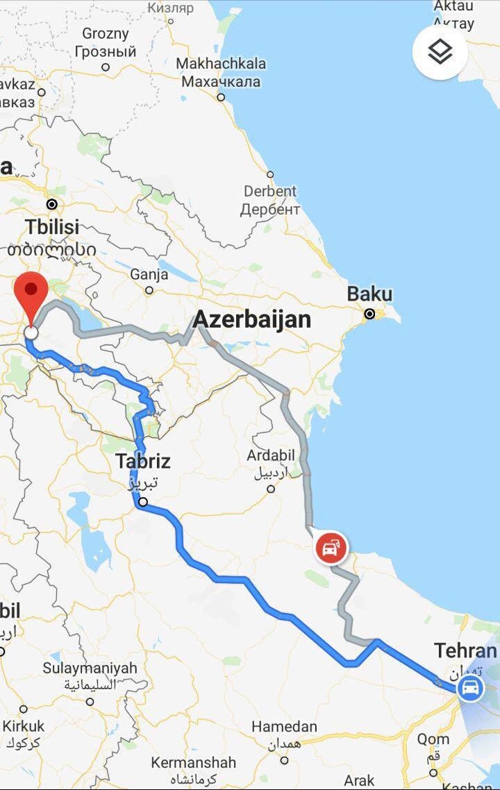 مسافت و مدت زمان سفر زمینی از تهران به ارمنستان ایروان و مسیر حرکت اتوبوس از تهران به ایروان