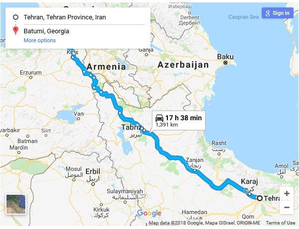 مسافت نوع اتوبوس و مدت زمان سفر زمینی از تهران به باتومی گرجستان