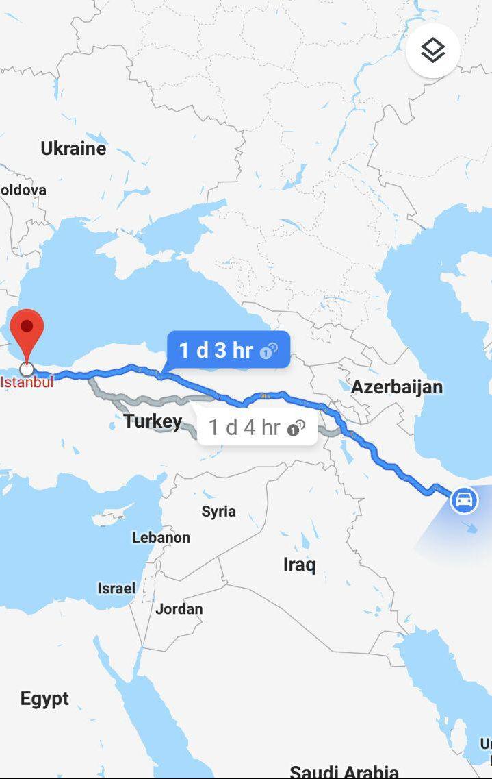 مسافت و مدت زمان سفر زمینی از تهران به استانبول ترکیه و مسیر حرکت اتوبوس از تهران به استانبول