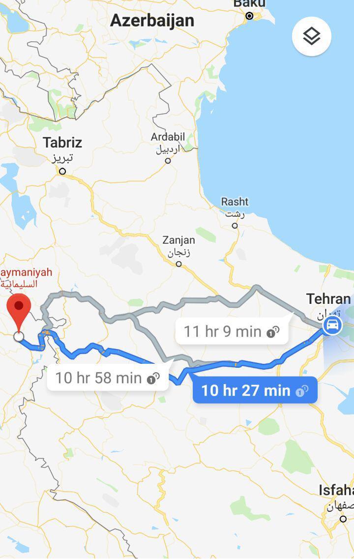 مسافت زمینی از تهران به سلیمانیه و مدت زمان سفر زمینی از تهران به سلیمانیه عراق و مسیر حرکت اتوبوس از تهران به سلیمانیه