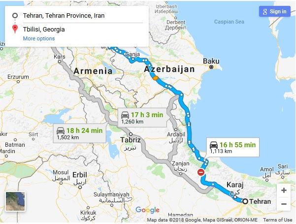 مسیر حرکت اتوبوس تهران گرجستان تفلیس - سفر زمینی به تفلیس