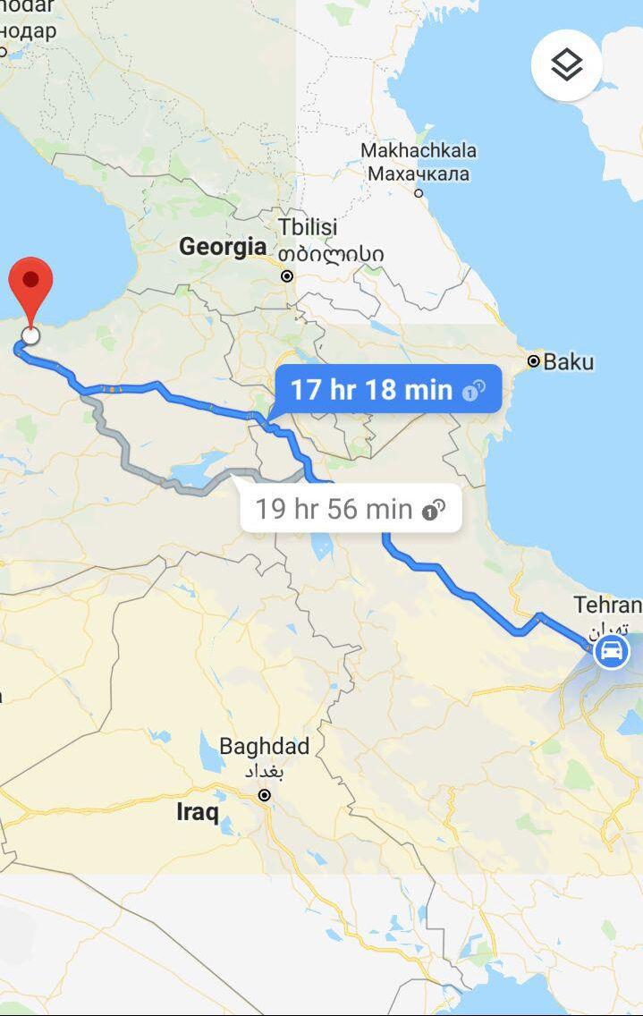 مسافت زمینی از تهران به ترابزون و مدت زمان سفر زمینی از تهران به ترابزون ترکیه و مسیر حرکت اتوبوس از تهران به ترابزون