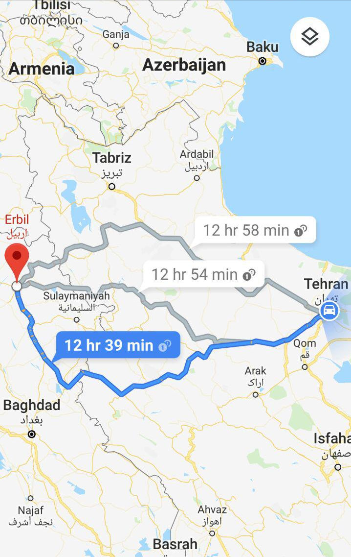مسافت و مدت زمان سفر زمینی از تهران به اربیل عراق و مسیر حرکت اتوبوس از تهران به اربیل