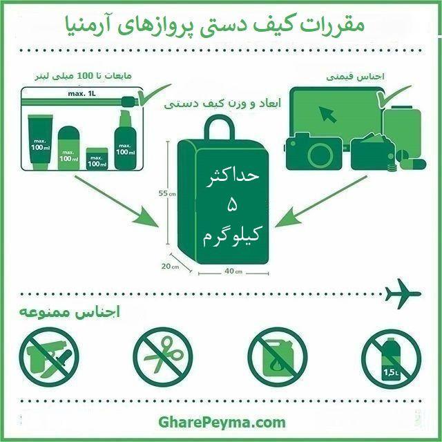 میزان بار چمدان و کیف دستی پروازهای آرمینا - نمایندی رسمی فروش بلیط آرمنیا ایرویز در ایران