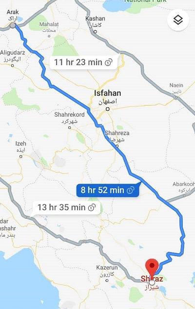 فاصله اراک به شیراز با اتوبوس