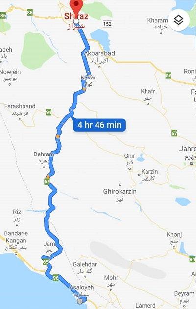 از عسلویه به شیراز چند کیلومتر است