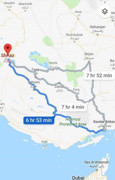 مدت سفر زمینی از بندر به شیراز