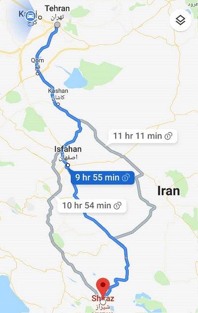 سفر زمینی از تهران به شیراز اتوبوس