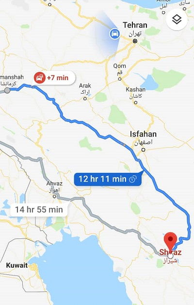 هزینه اتوبوس کرمانشاه شیراز