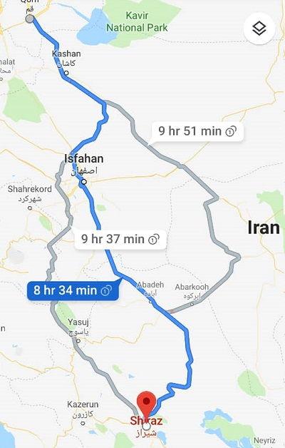 قیمت بلیط اتوبوس قم شیراز