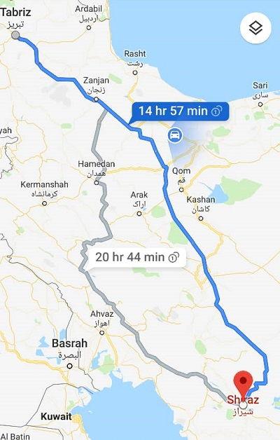 قیمت اتوبوس تبریز شیراز