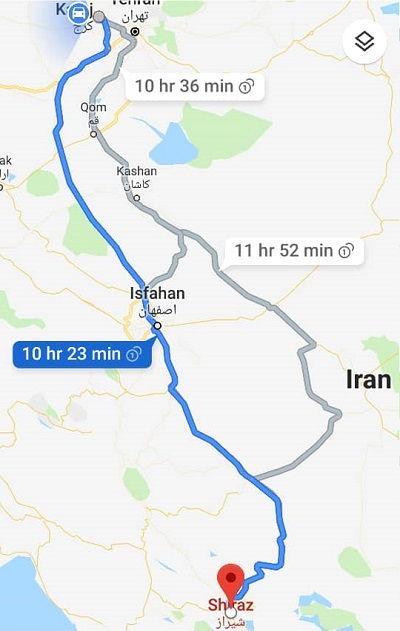 کرج به شیراز زمینی