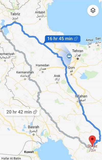 مبلغ بلیط اتوبوس شیراز به ارومیه و ارومیه به شیراز