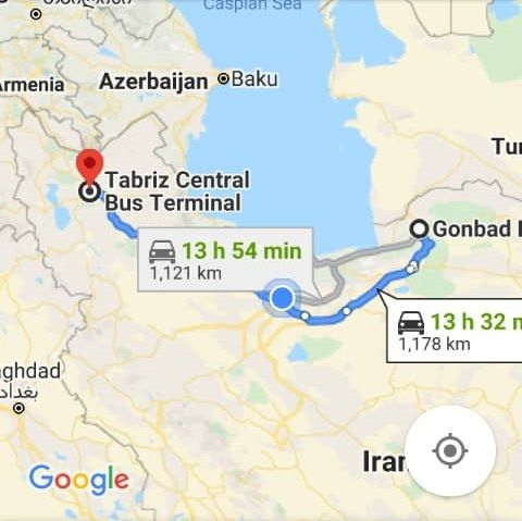 بلیط اتوبوس گنبد کاووس به تبریز