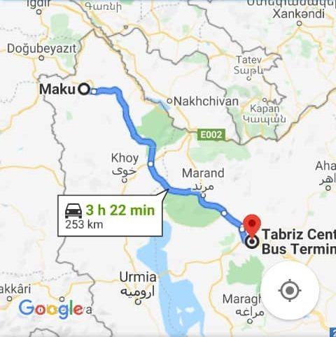 بلیط اتوبوس از ماکو به تبریز