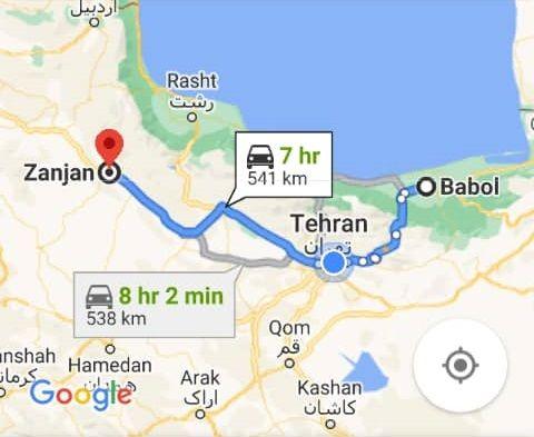 رزرو بلیط اتوبوس بابل تا زنجان و و زنجان به بابل