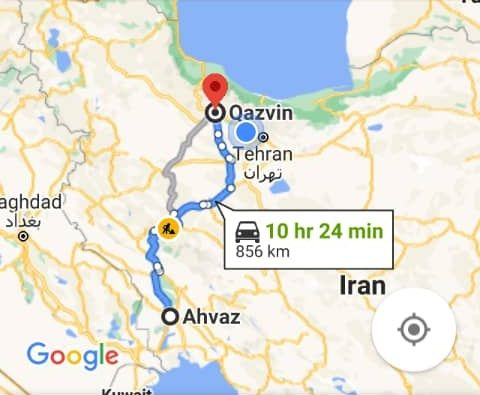رزرو بلیط اتوبوس اهواز تا قزوین و و قزوین به اهواز