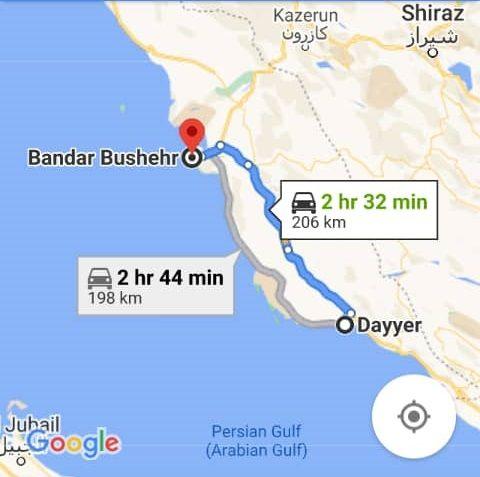 هزینه سفر زمینی با اتوبوس از دیر تا بوشهر و بوشهر تا دیر رفت و برگشت و یک طرفه