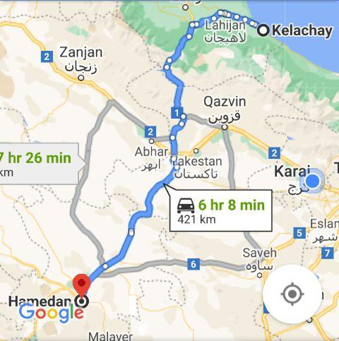 نرخ بلیط اتوبوس کلاچای همدان و مبلغ بلیط اتوبوس همدانکلاچای