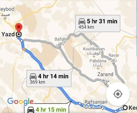هزینه سفر زمینی با اتوبوس از کرمان تا یزد و یزد تا کرمان رفت و برگشت و یک طرفه