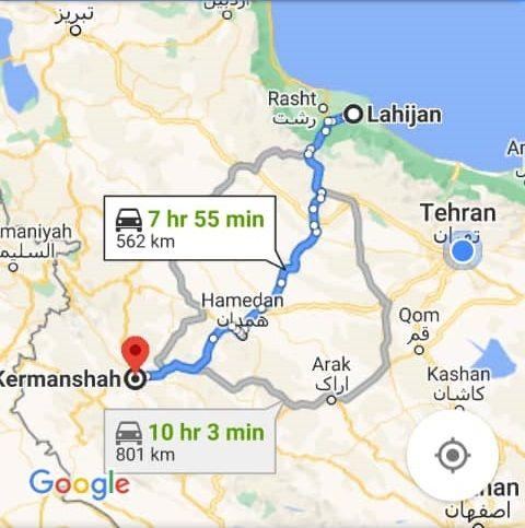 هزینه سفر زمینی با اتوبوس از کرمانشاه تا لاهیجان و لاهیجان تا کرمانشاه رفت و برگشت و یک طرفه