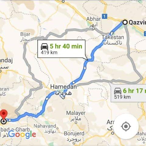 هزینه سفر زمینی با اتوبوس از کرمانشاه تا قزوین و قزوین تا کرمانشاه رفت و برگشت و یک طرفه