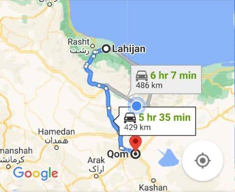 هزینه سفر زمینی با اتوبوس از قم تا لاهیجان و لاهیجان تا قمرفت و برگشت و یک طرفه