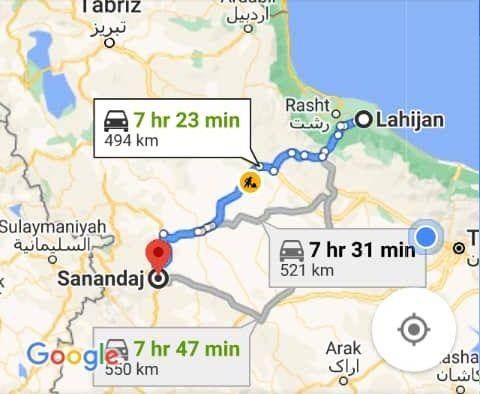 هزینه سفر زمینی با اتوبوس از سنندج تا لاهیجان و لاهیجان تا سنندج رفت و برگشت و یک طرفه