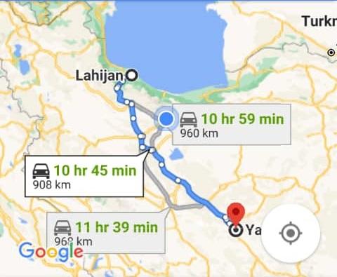 هزینه سفر زمینی با اتوبوس از یزد تا لاهیجان و لاهیجان تا یزدرفت و برگشت و یک طرفه