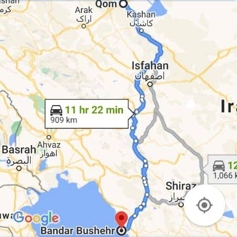 قیمت بلیط اتوبوس قم بوشهر و بوشهر قم