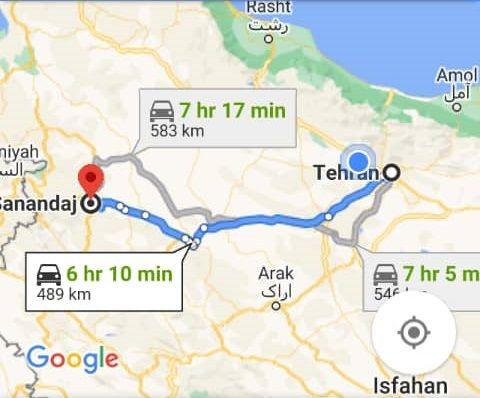 هزینه بلیط اتوبوس تهران سنندج و سنندج به تهران