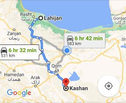 هزینه سفر زمینی با اتوبوس از کاشان تا لاهیجان و لاهیجان تا کاشانرفت و برگشت و یک طرفه