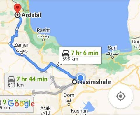 رزرو بلیط اتوبوس اردبیل تا نسیم شهر و و نسیم شهر به اردبیل