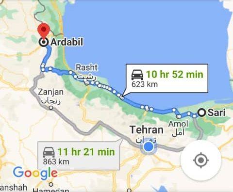 خرید اینترنتی اتوبوس اردبیل به ساری و ساری به اردبیل