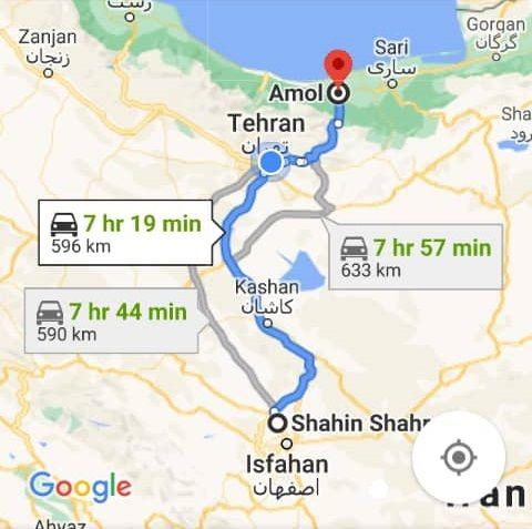هزینه سفر زمینی با اتوبوس از شاهین شهر تا آمل و آمل تا کرمانشاه رفت و برگشت و یک طرفه