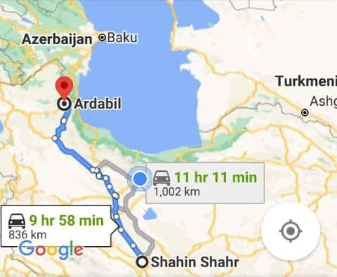 هزینه سفر زمینی با اتوبوس از شاهین شهر تا اردبیل و اردبیل تا شاهین شهر رفت و برگشت و یک طرفه