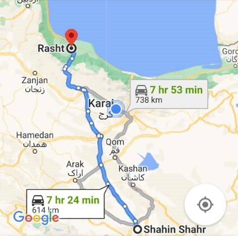 هزینه سفر زمینی با اتوبوس از شاهین شهر تا رشت و رشت تا شاهین شهر رفت و برگشت و یک طرفه
