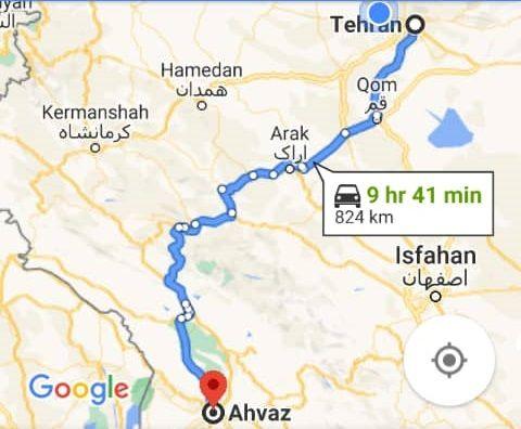 هزینه بلیط اتوبوس تهران اهواز و اهواز به تهران