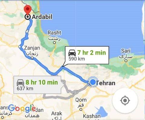 هزینه بلیط اتوبوس تهران اردبیل و اردبیل به تهران