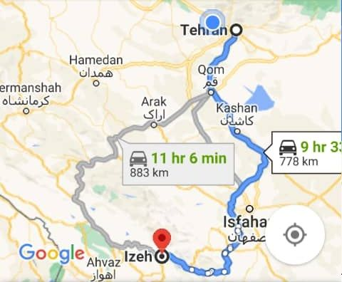 هزینه بلیط اتوبوس تهران ایذه و ایذه به تهران